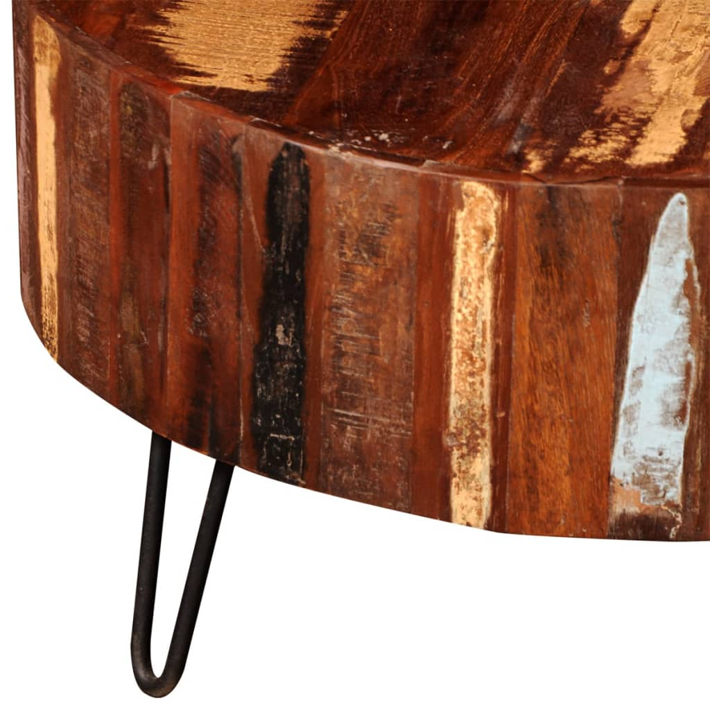 Reclaimed solid wood round coffee table Recycled wood coffee table