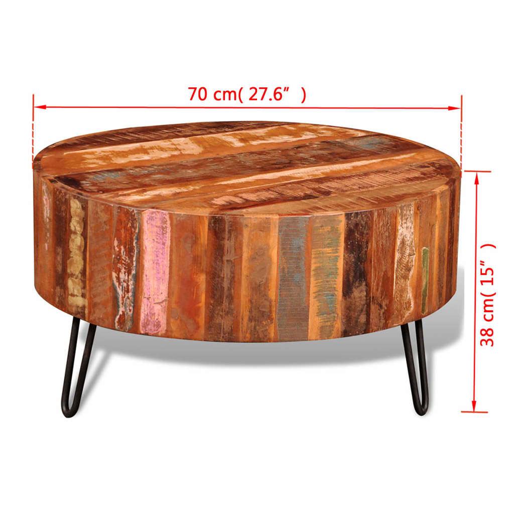 Solid Wood Coffee Tables ~ Reclaimed solid wood round coffee table vidaxl