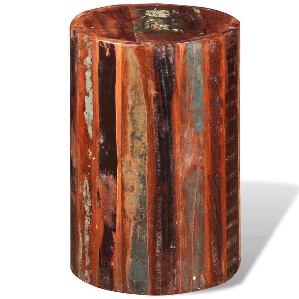 Reclaimed solid wood cylinder stool vidaxl