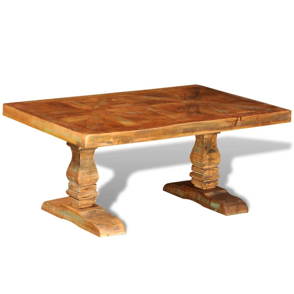 Reclaimed solid wood coffee table antique style for Reclaimed coffee table
