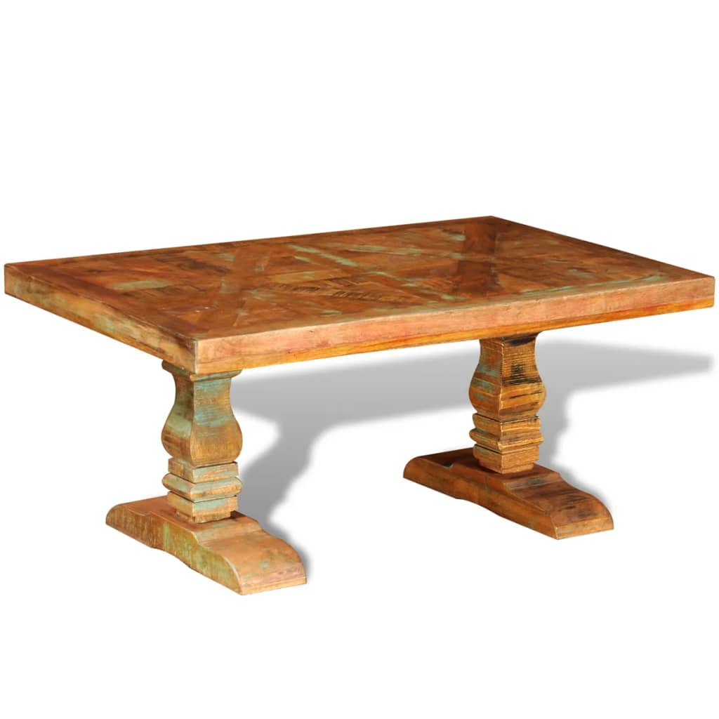 Vidaxlcouk reclaimed solid wood coffee table antique style for Reclaimed teak wood coffee table
