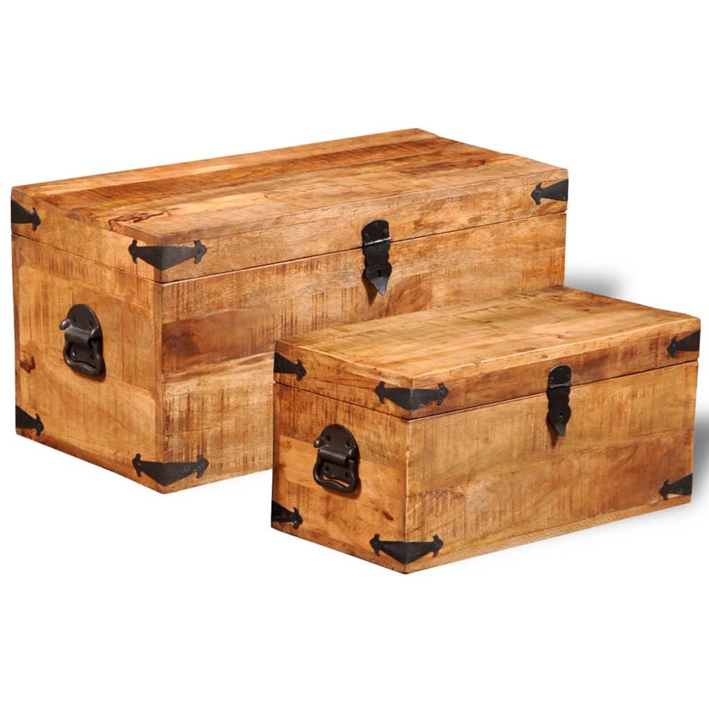 la boutique en ligne jeu de 2 coffres de stockage en bois brut de manguier. Black Bedroom Furniture Sets. Home Design Ideas