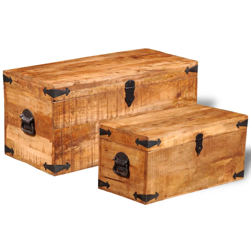 Wonderful image of vidaXL.co.uk Rough Mango Wood Storage Chest Set of 2 with #B96112 color and 1024x1024 pixels