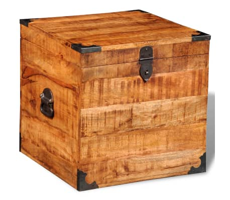 coffre carr en bois brut de manguier. Black Bedroom Furniture Sets. Home Design Ideas