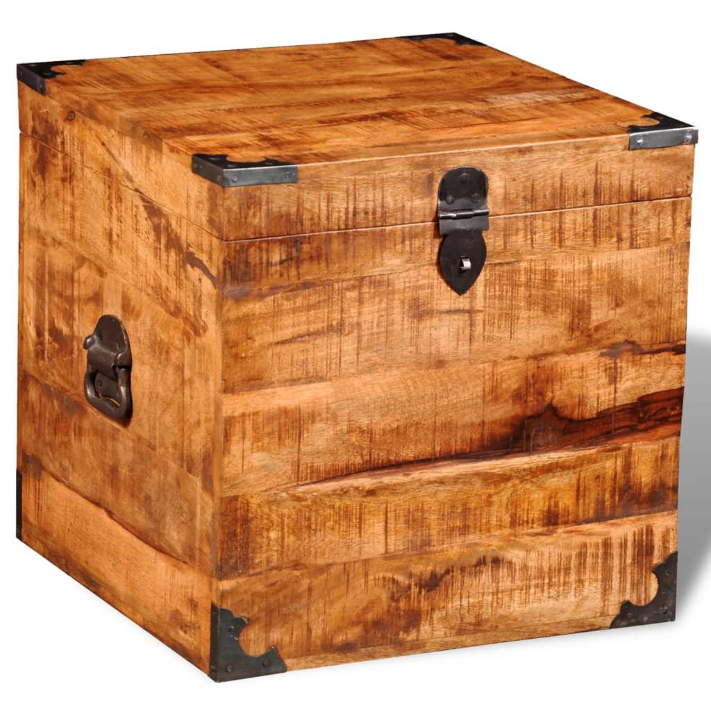 la boutique en ligne coffre carr en bois brut de manguier. Black Bedroom Furniture Sets. Home Design Ideas