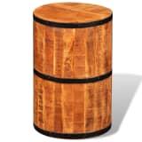 Taboret beczka, surowe drewno mango, metalowe elementy