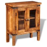 Rough Mango Wood Cabinet with Glass Doors
