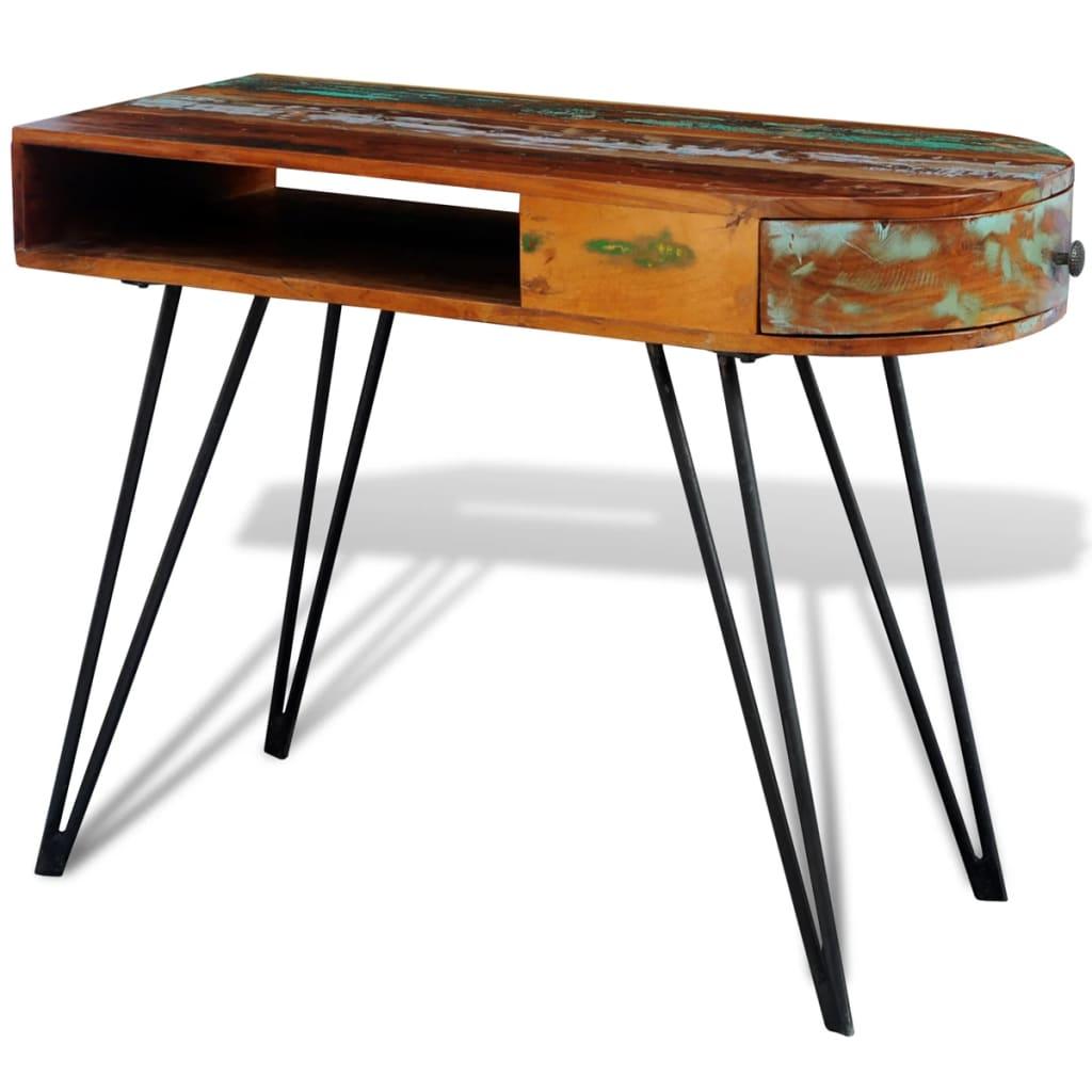 acheter bureau en bois solide recycl avec pieds broche en fer pas cher. Black Bedroom Furniture Sets. Home Design Ideas