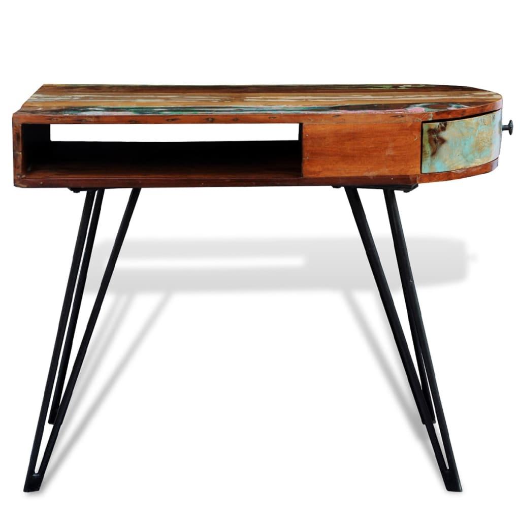 la boutique en ligne bureau en bois solide recycl avec pieds broche en fer. Black Bedroom Furniture Sets. Home Design Ideas