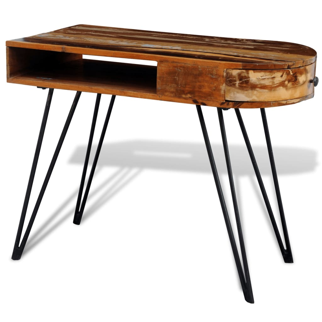 reclaimed solid wood desk with iron pin legs. Black Bedroom Furniture Sets. Home Design Ideas