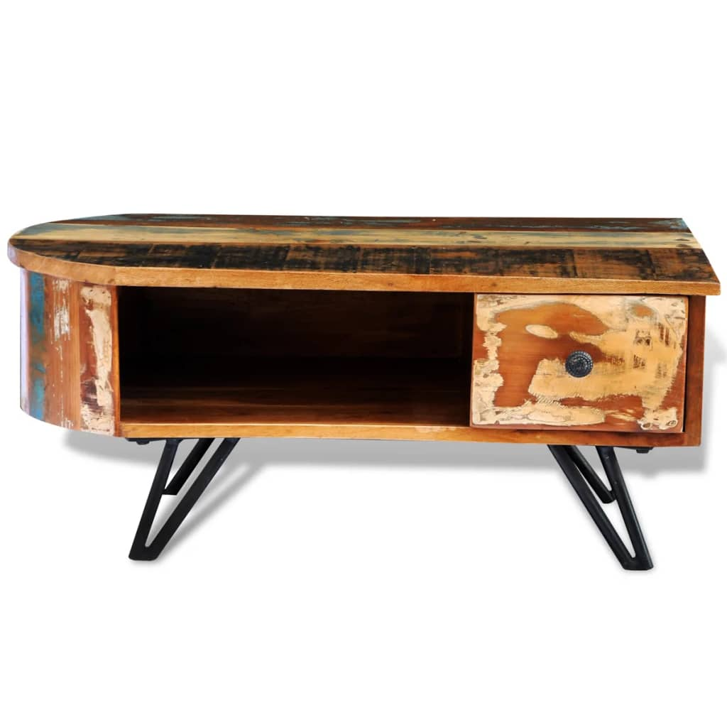 Reclaimed solid wood coffee table with iron pin legs for Solid wood coffee table