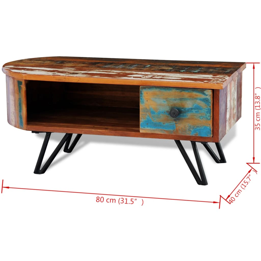 Reclaimed Solid Wood Coffee Table With Iron Pin Legs