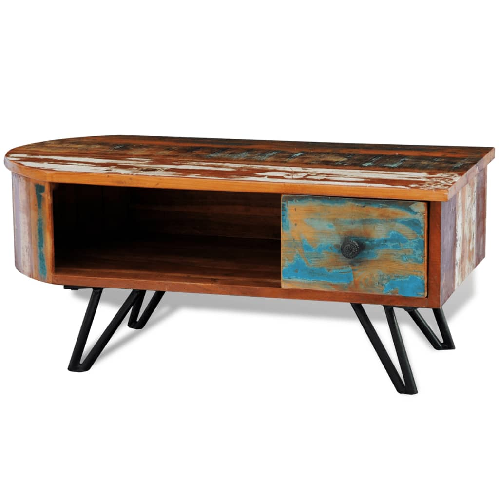 reclaimed solid wood coffee table with iron. Black Bedroom Furniture Sets. Home Design Ideas