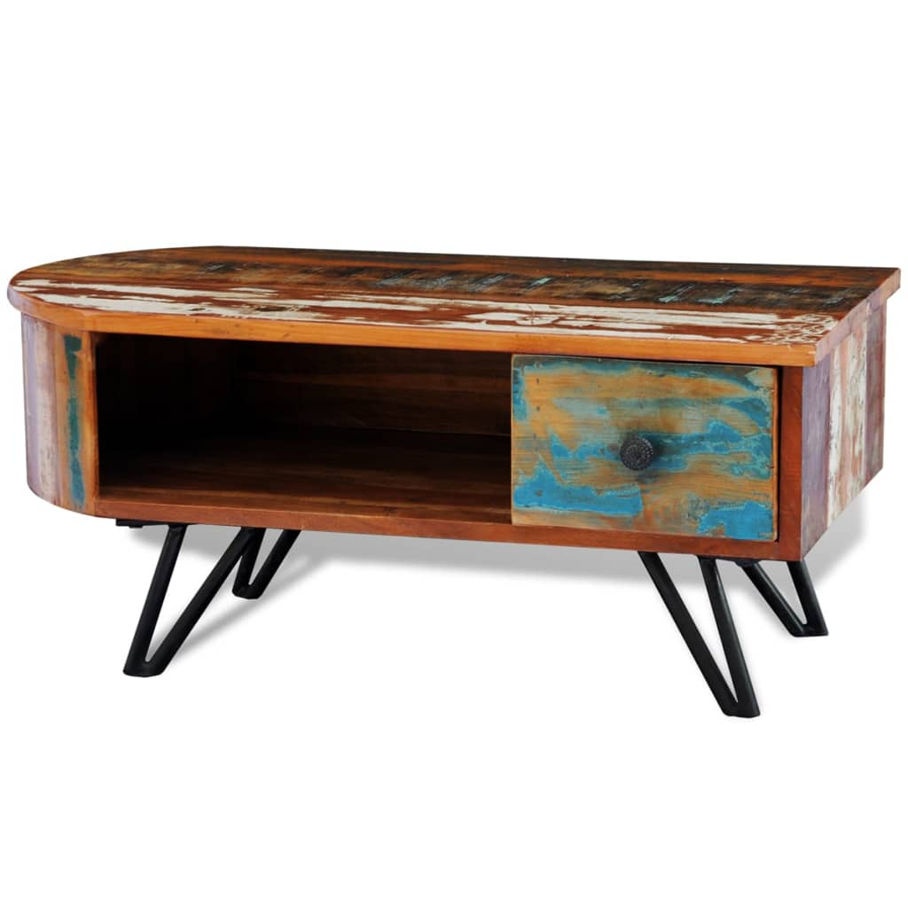vidaXLcouk  Reclaimed Solid Wood Coffee Table with Iron Pin Legs