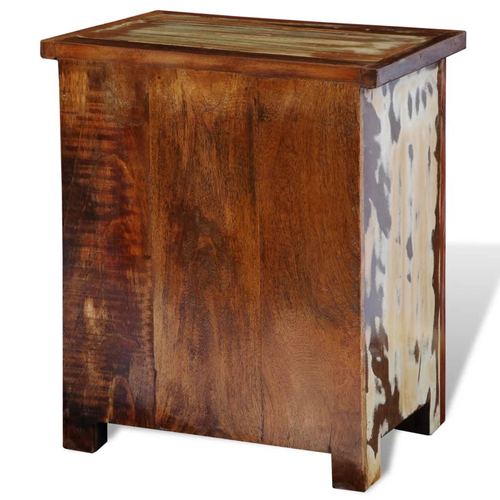 acheter armoire de chevet en bois solide recycl avec 2 tiroirs pas cher. Black Bedroom Furniture Sets. Home Design Ideas