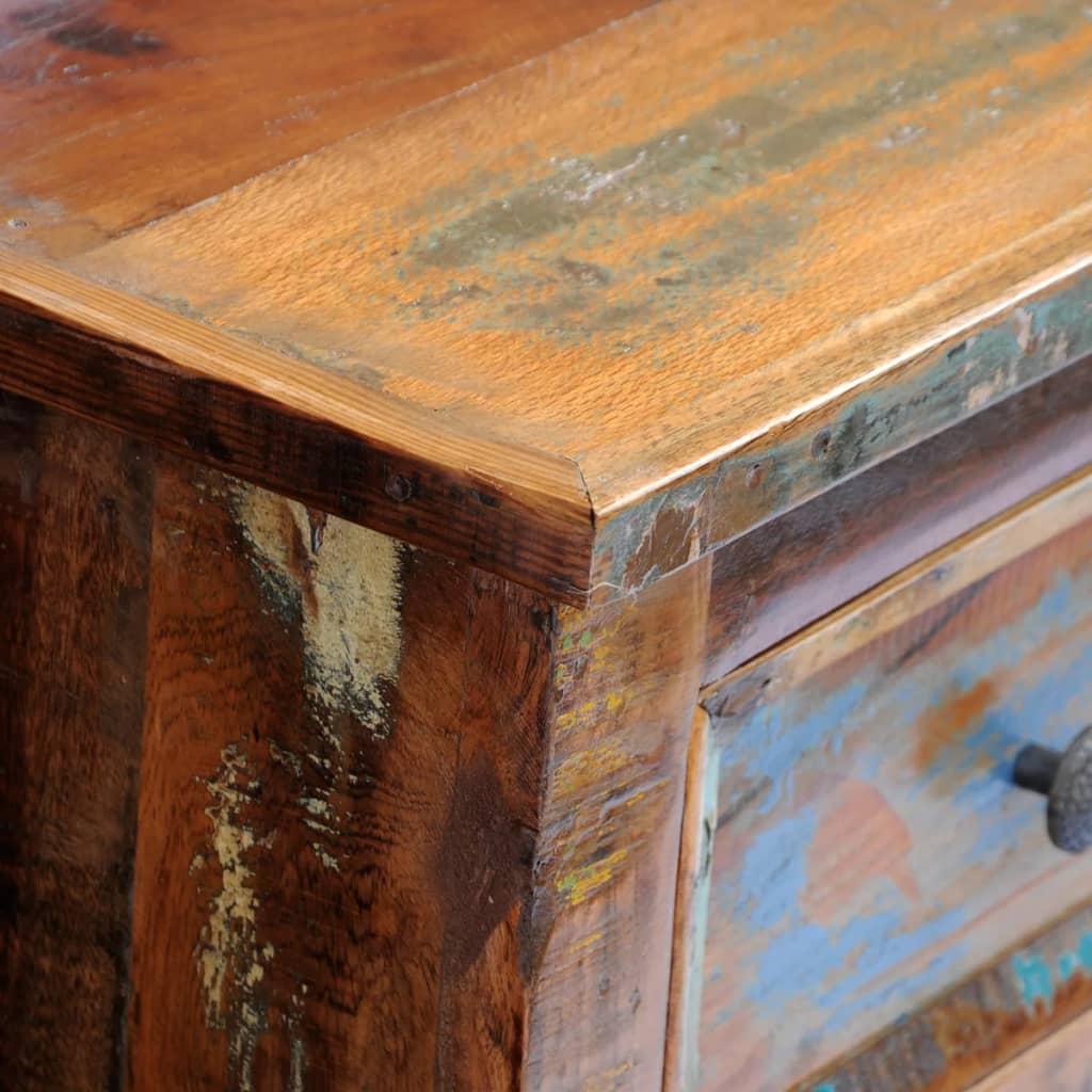 Mesa de noche de madera maciza reciclada con 2 cajones for Mesas de noche de madera