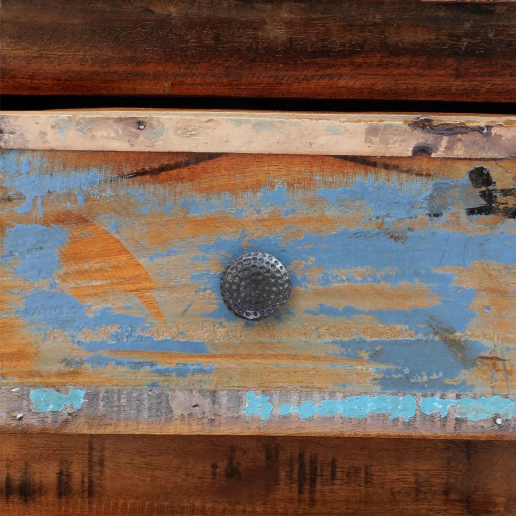 Mesa de noche de madera maciza reciclada con 2 cajones - Mesas de noche de madera ...