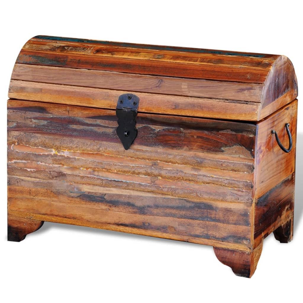 Ba l de almacenaje de madera maciza reciclada tienda for Baul madera barato