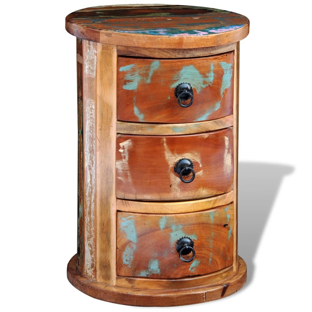 Reclaimed solid wood round cabinet with 3 drawers for Solid wood cabinets