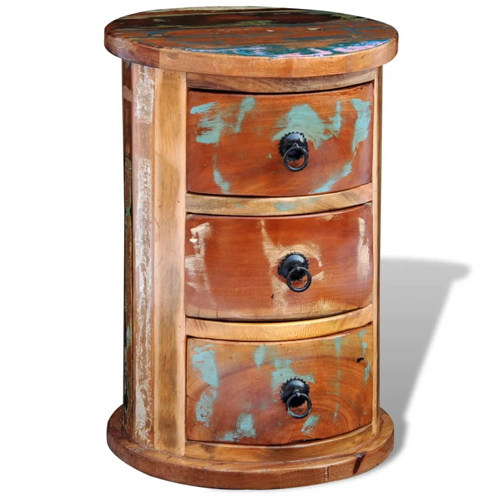Reclaimed solid wood round cabinet with 3 for Solid wood cabinets