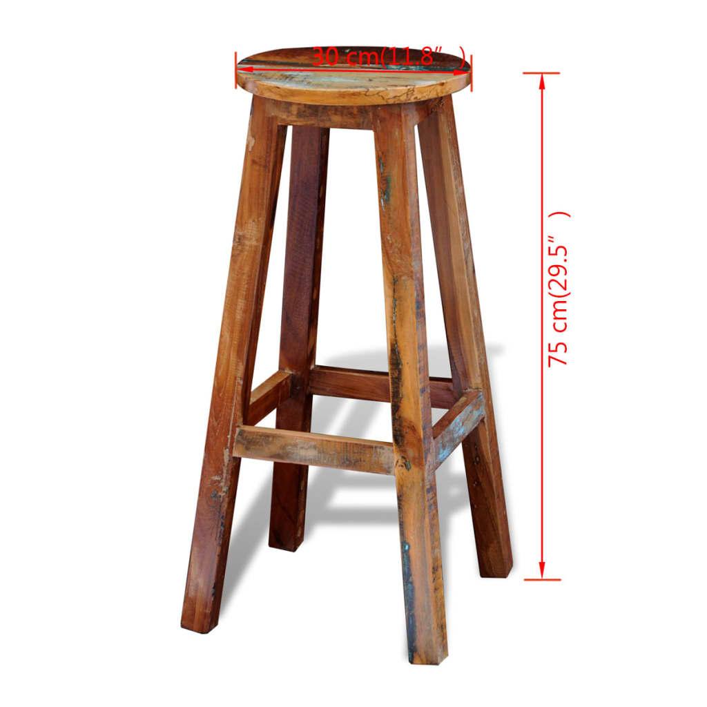 Solid Wood Bar Stools ~ Vidaxl reclaimed solid wood high bar stool