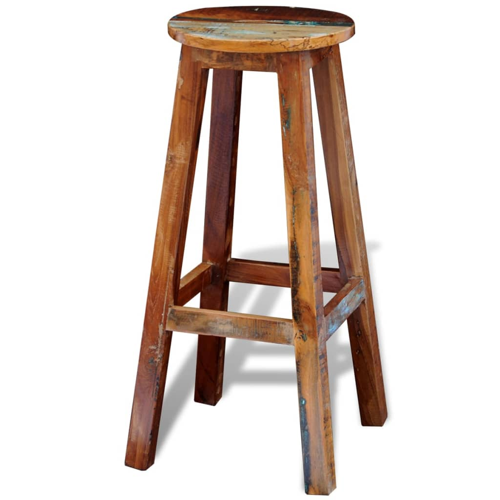 Reclaimed Solid Wood High Bar Stool