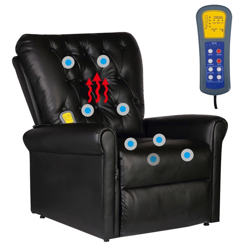 la boutique en ligne fauteuil de massage lectrique inclinable en cuir artificiel noir. Black Bedroom Furniture Sets. Home Design Ideas
