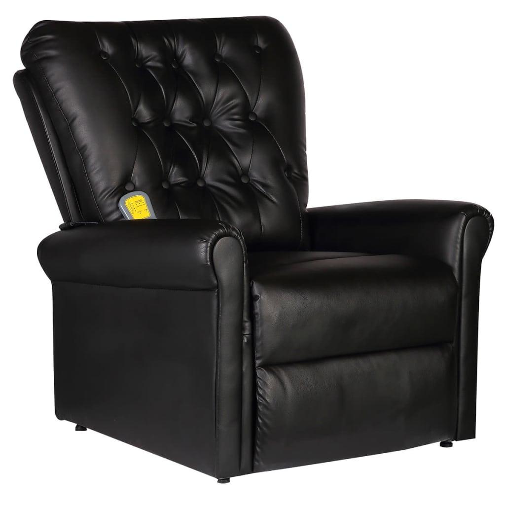 Sill n de masaje reclinable de piel sint tica negro - Sillon reclinable piel ...