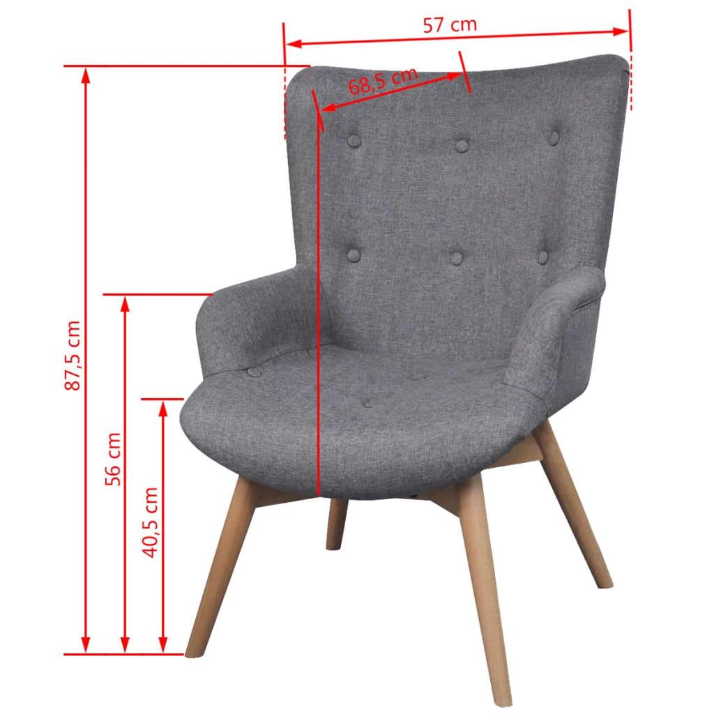 gepolsterter sessel mit hocker grau g nstig kaufen. Black Bedroom Furniture Sets. Home Design Ideas