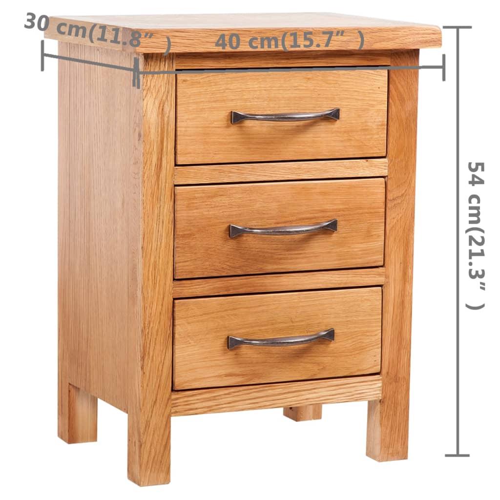 acheter table de chevet 3 tiroir en ch ne 40 x 30 x 54 cm pas cher. Black Bedroom Furniture Sets. Home Design Ideas