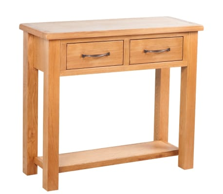 console table with 2 drawers 83 x 30 x 73 cm oak. Black Bedroom Furniture Sets. Home Design Ideas
