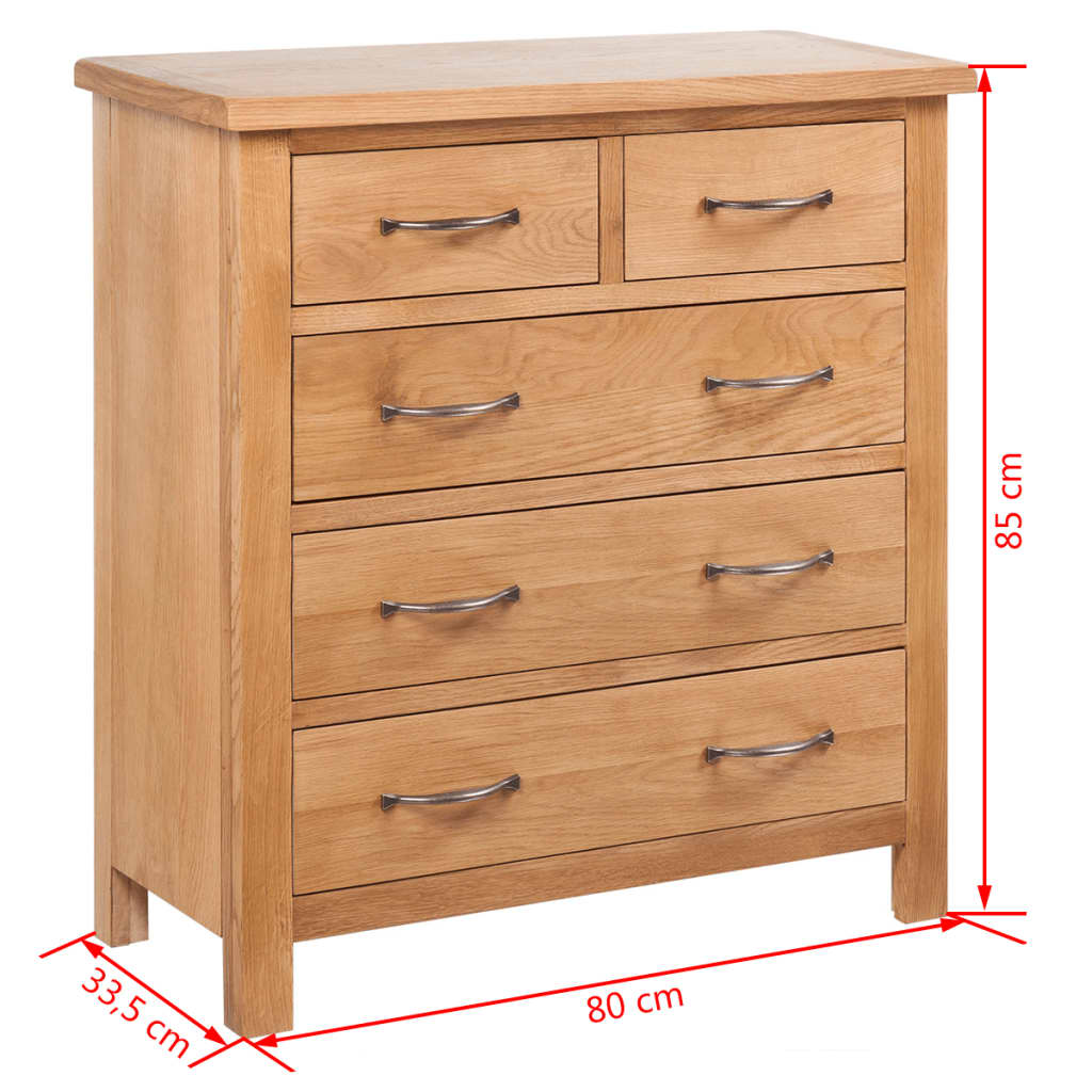 Sideboard with 5 drawers 80 x 33 5 x 85 cm oak for Sideboard 80 cm tief