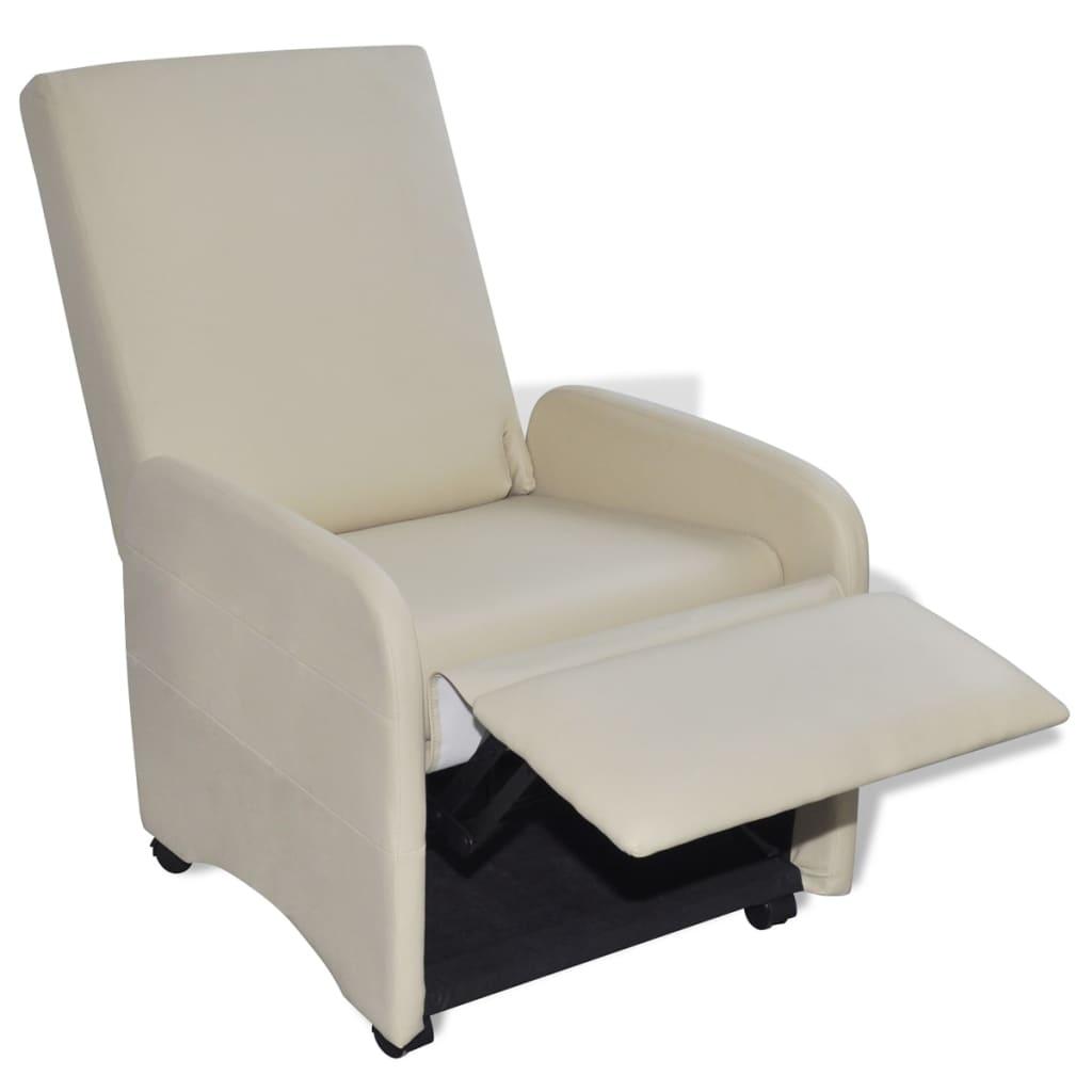 Poltrona pieghevole reclinabile in pelle artificiale crema for Poltrona reclinabile