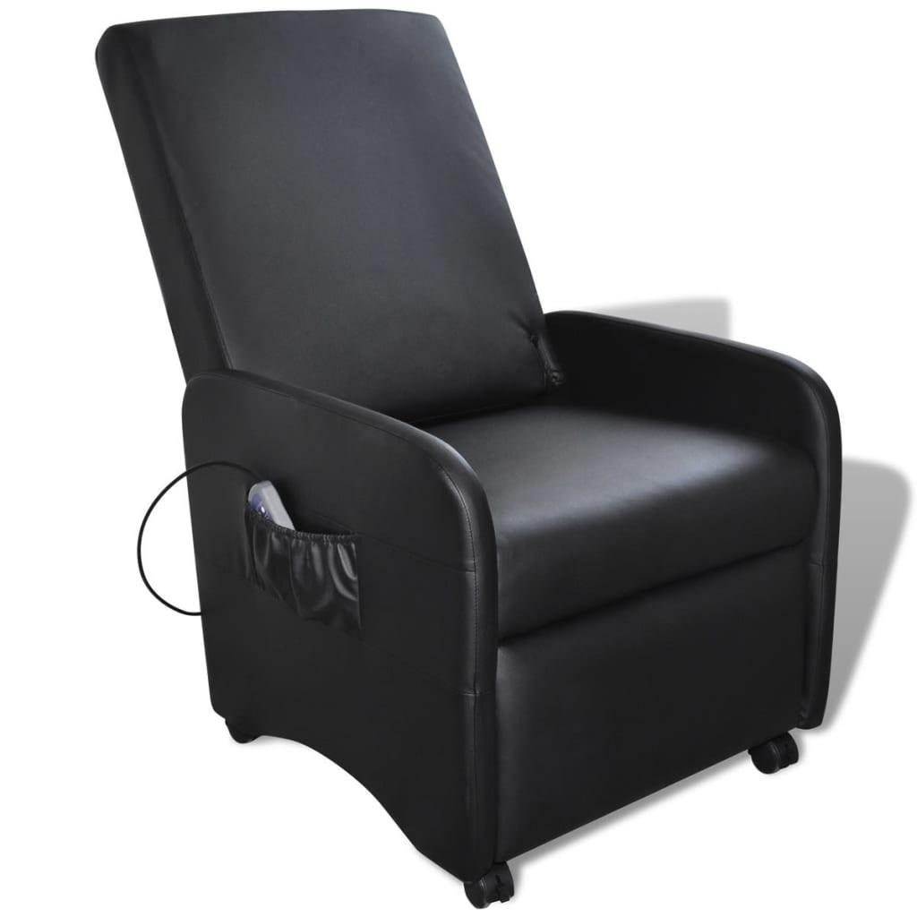 vidaXL fekete dönthető háttámlás műbőr elektromos masszázsszék