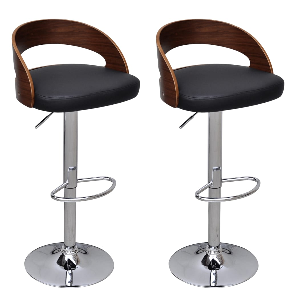 2 Pcs Bentwood Bar Stool With Backrest Height Adjustable