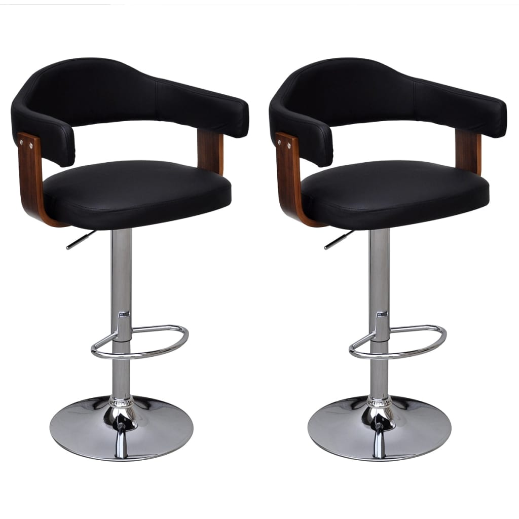 2 Pcs Bentwood Bar Stool With Backrest Armrest Height