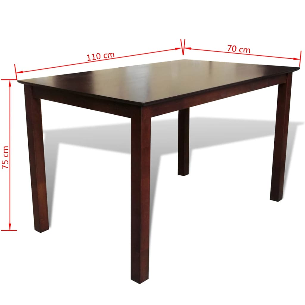 Solid wood brown dining table 110 cm for Solid wood dining table