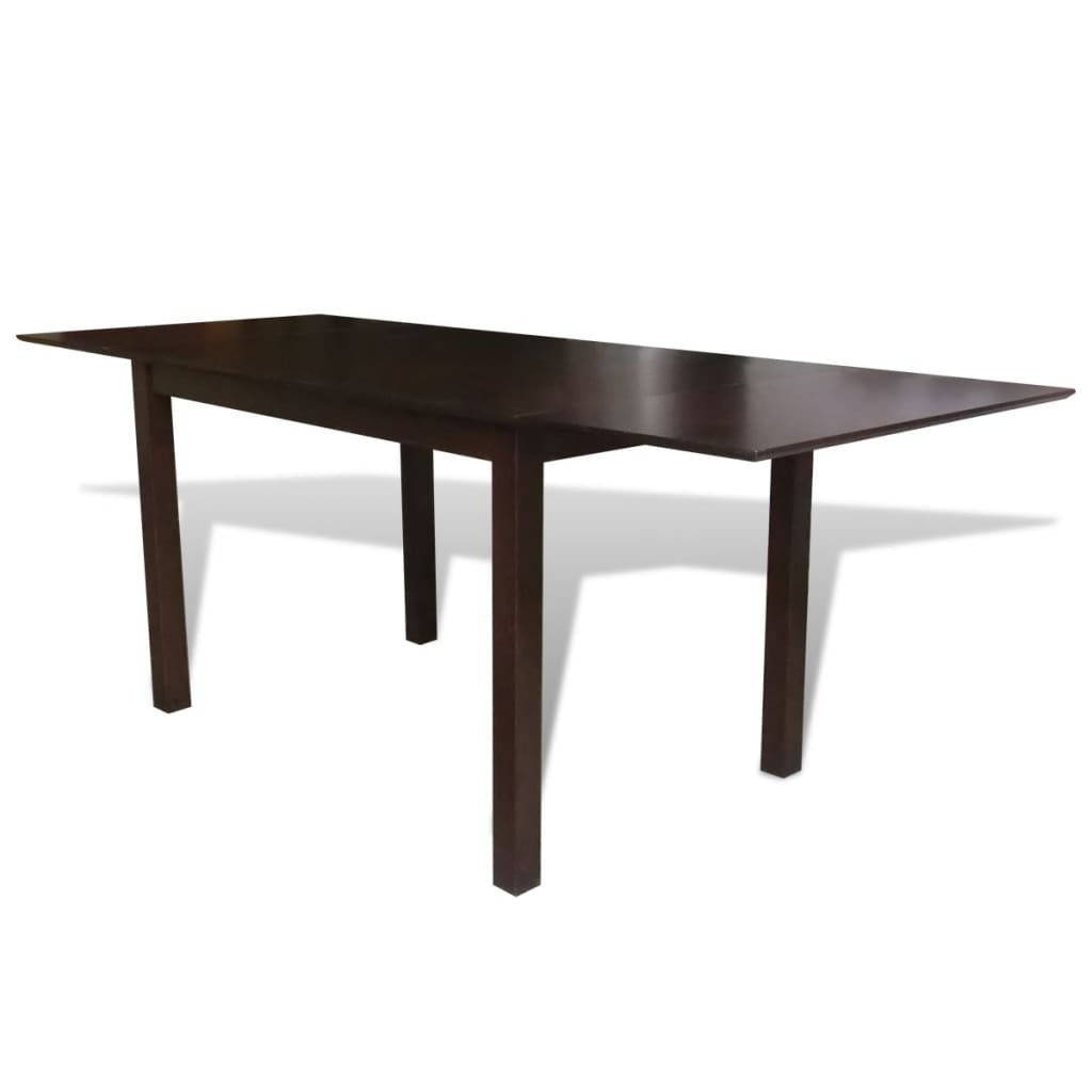 Solid wood brown extending dining table 195 cm for Solid wood dining table