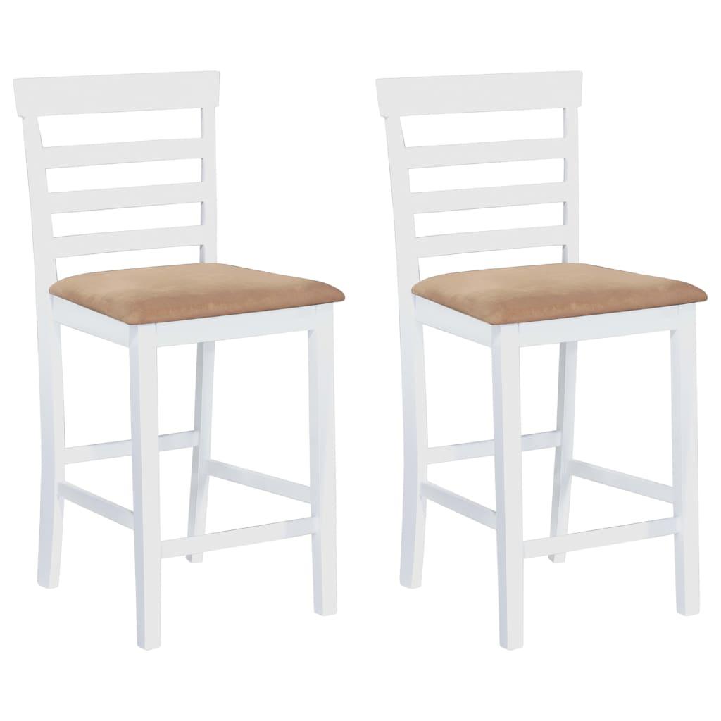 vidaXL Barstühle 2 Stk. Holz Weiß und Beige