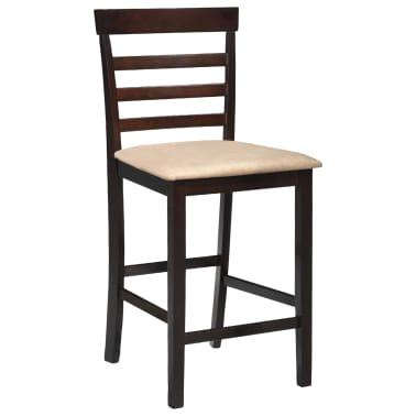 Drvena barska stolica, smeđa/bež, 2 komada[2/5]