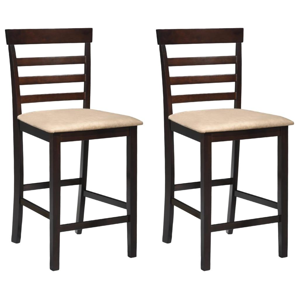 Brun/krämvit barstol i trä 2 stycken