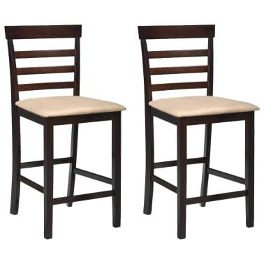 Drvena barska stolica, smeđa/bež, 2 komada[1/5]