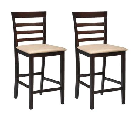 Drvena barska stolica, smeđa/bež, 2 komada