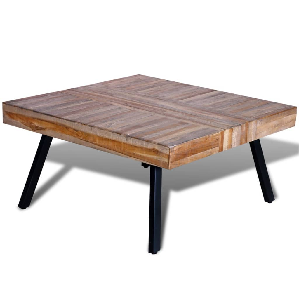 Coffee table square reclaimed teak for Reclaimed coffee table