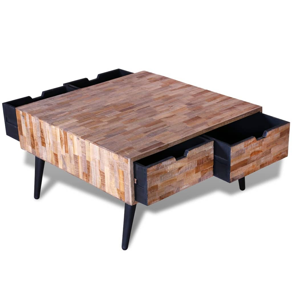 Indore Coffee Table With 6 Drawers: Coffee Table With 4 Drawers Reclaimed Teak