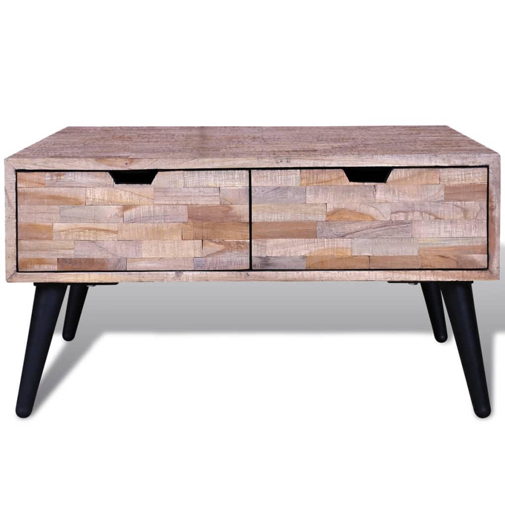 Acheter table basse avec 4 tiroirs en teck recycl pas - Table basse en solde ...