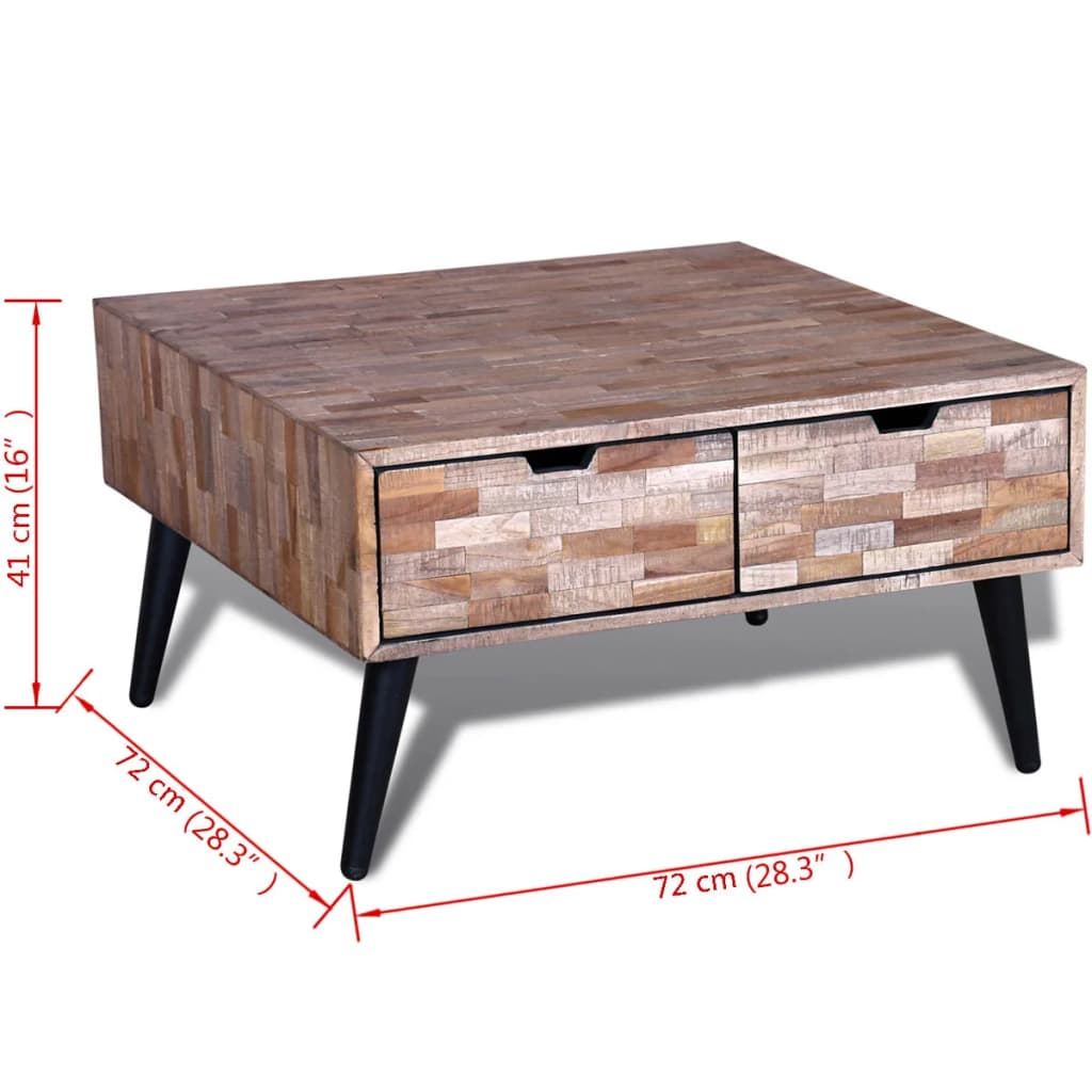 acheter table basse avec 4 tiroirs en teck recycl pas cher. Black Bedroom Furniture Sets. Home Design Ideas