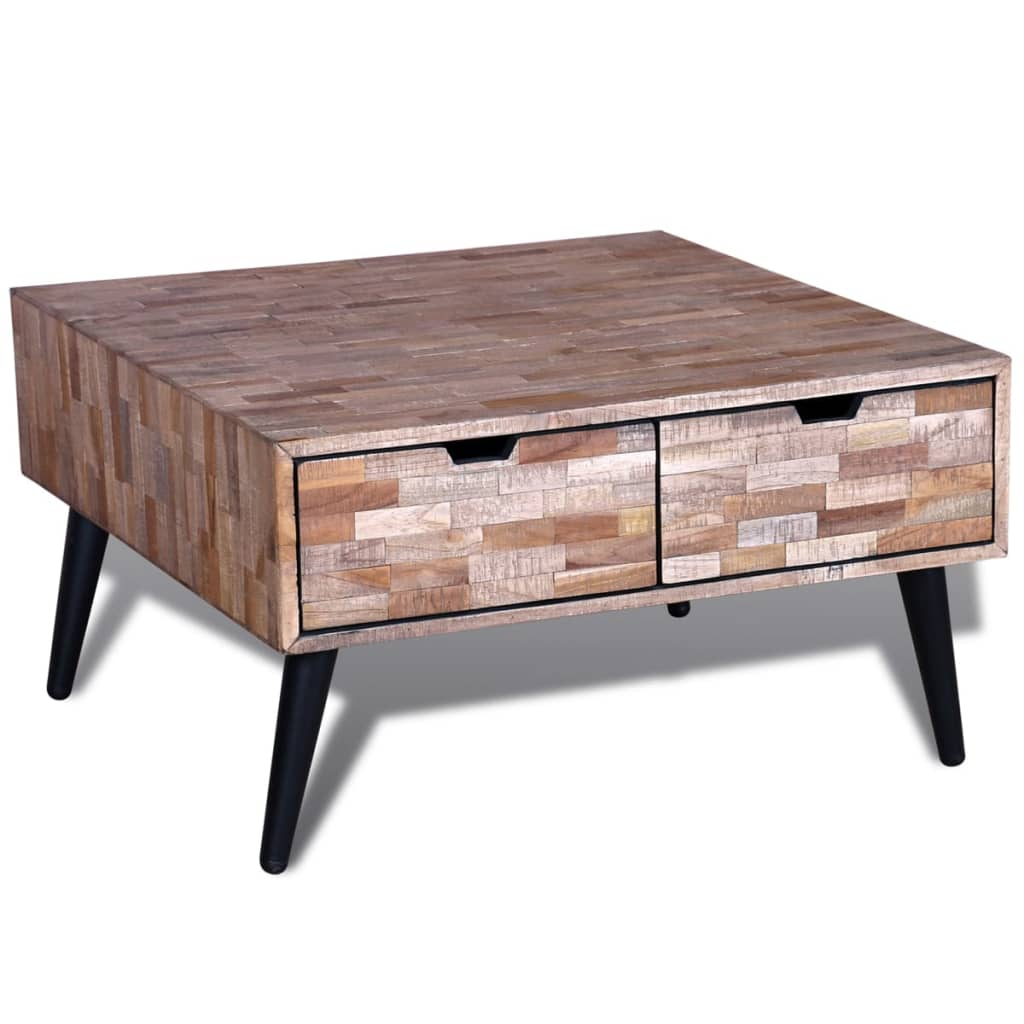 acheter table basse avec 4 tiroirs en teck recycl pas. Black Bedroom Furniture Sets. Home Design Ideas