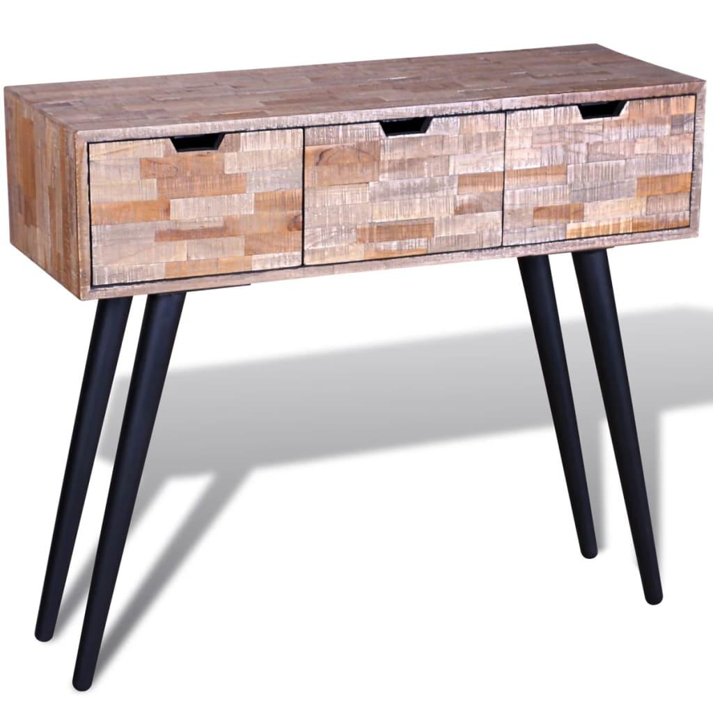 vidaXL Console en teck recyclé Cette console en teck recyclé est un meuble indémodable. Son plateau en bois massif offre suffisam