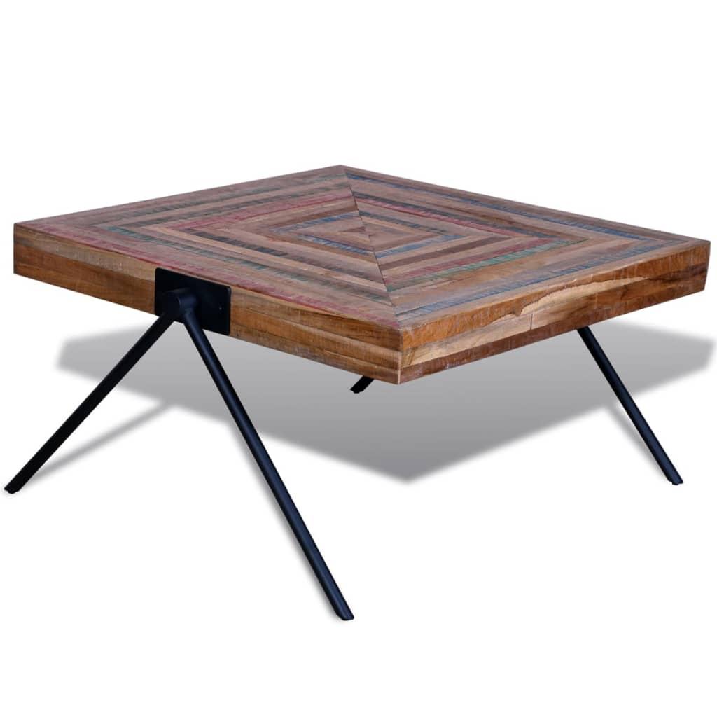 Mesa de caf de teca reciclada con patas en forma de v - Mesa de teca ...